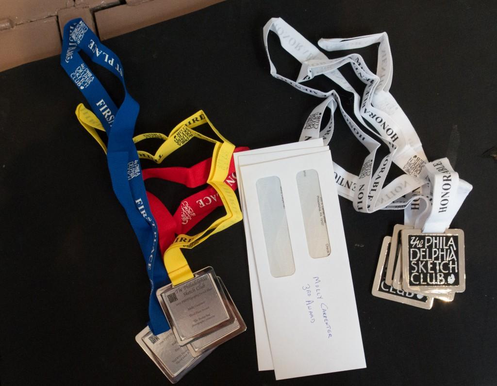 Awards ready for presentation.