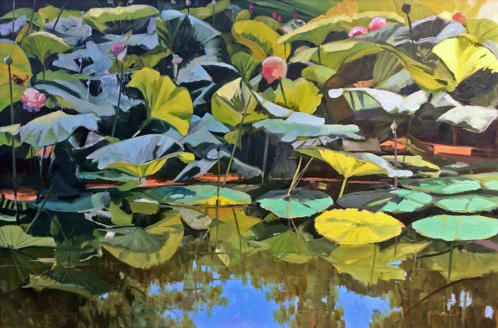 Elaine Lisle, Reflections on Lotus, 2017 Art of the Flower Best of Show Winner